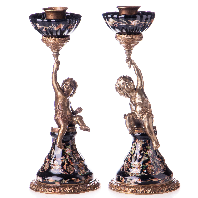 50 x 27 x 18 cm k-hm5940 Porzellan mit Bronze Vase mit Engeln ca