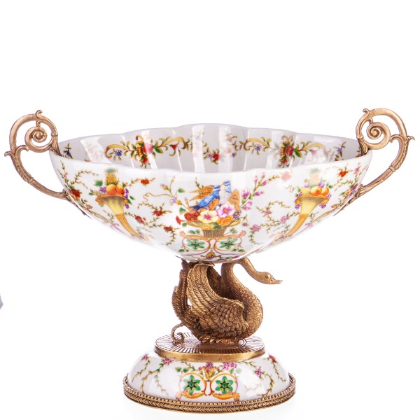Porzellan mit Bronze Schale mit Schwan HM6095