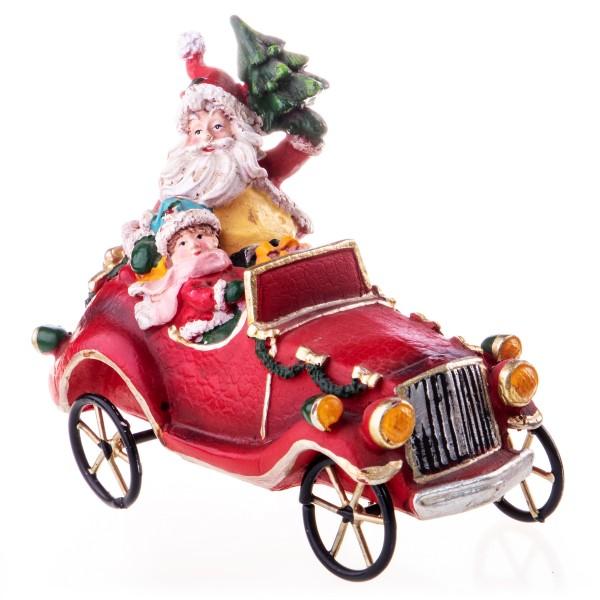 Polyresin Weihnachtsmann im Auto EV522