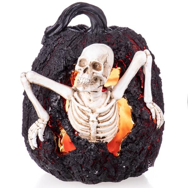 Halloween Polyresinfigur Skelett in Kürbis mit LED Beleuchtung (3 AAA Batterien nicht enthalten!) XS203