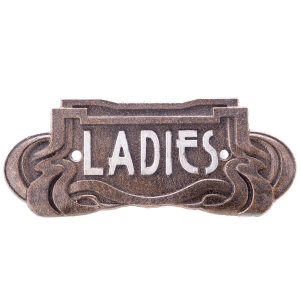 """Jugendstil Gusseisen Türschild """"Ladies"""" GU120"""