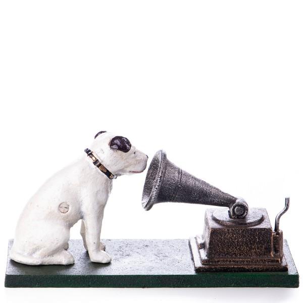 """Gusseisen Hund """"Nipper"""" vor Grammofon GU027"""