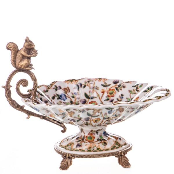Porzellan mit Bronze Schale mit Eichhörnchen HM6105