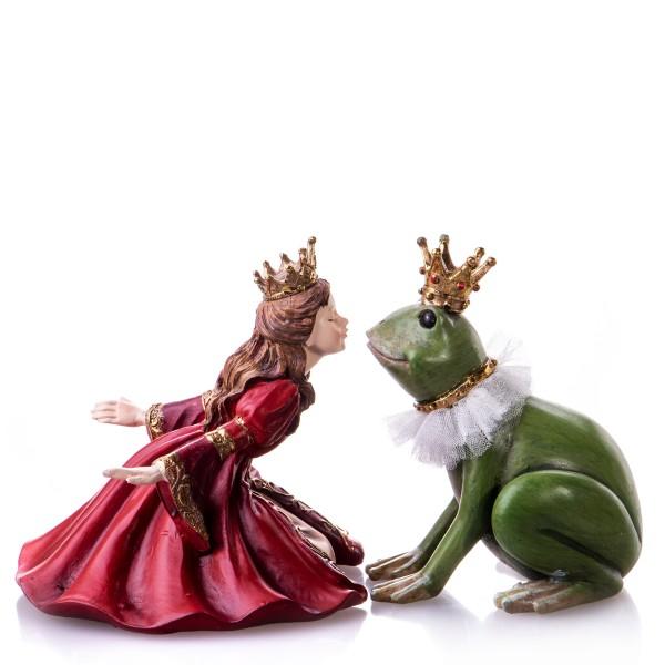 Set aus Prinzessin und Froschkönig küssend handbemalte Polyresinfiguren TM349