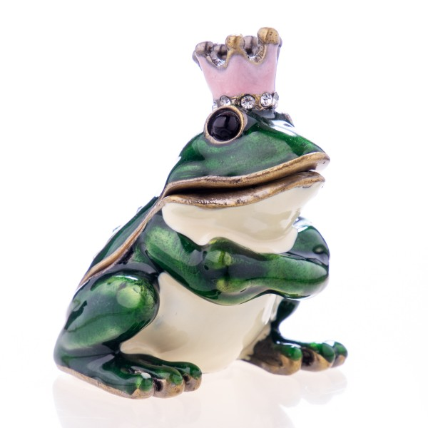 Pillendöschen aus emailliertem Hartzinn und Schmucksteinen in Form eines Froschkönigs BX22805A