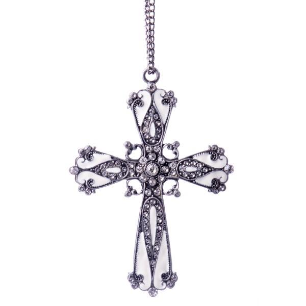 Kreuz aus emailliertem Hartzinn und Schmucksteinen HD11762C