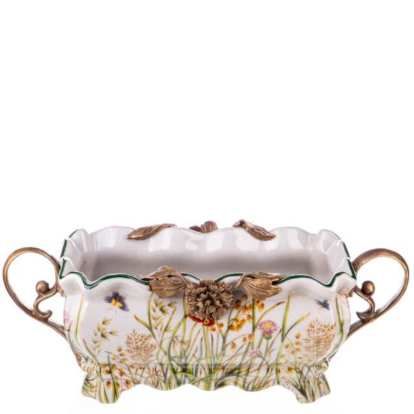 Porzellan mit Bronze Schale mit Rosen HM6120