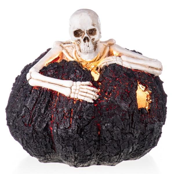 Halloween Polyresinfigur Skelett in Kürbis mit LED beleuchtung (3 AAA Batterien nicht enthalten) XS202