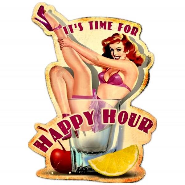 Geprägtes Blechschild Happy Hour MP115