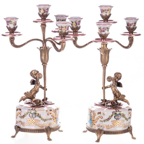 Porzellan mit Bronze Kerzenleuchter Set/2 HM6124