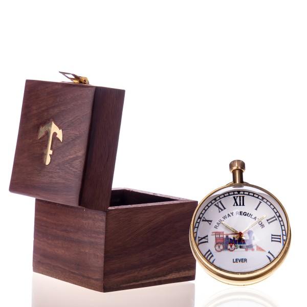Messing Kugeluhr mit Mechanischem Uhrwerk in Holzbox R10-3
