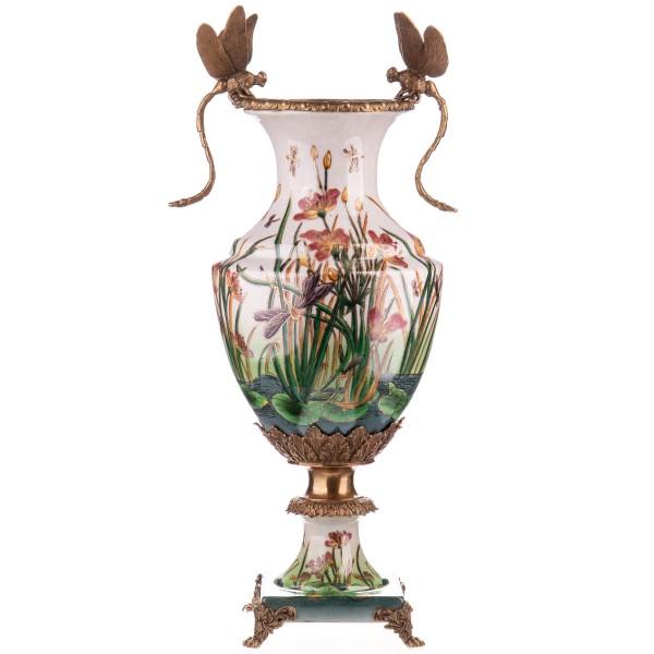 Porzellan mit Bronze Vase mit Libellen HM6109