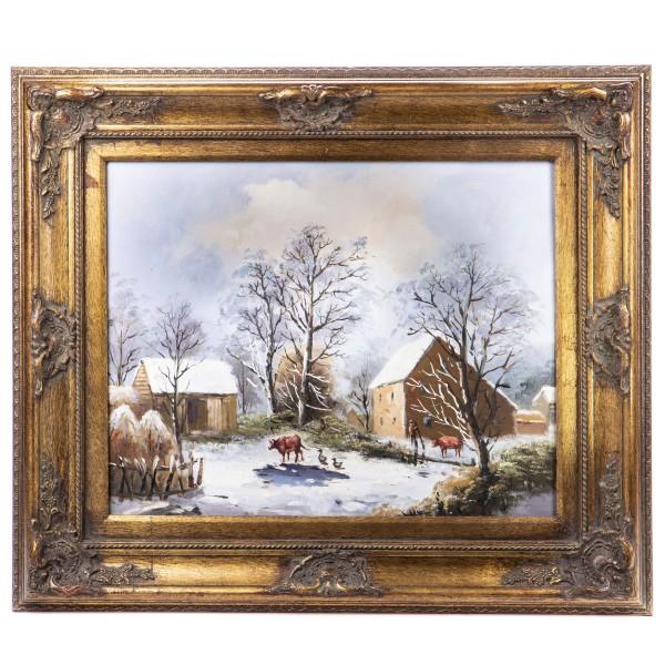 """Ölgemälde mit Rahmen """"Winterlandschaft"""" GE1203-40x50"""