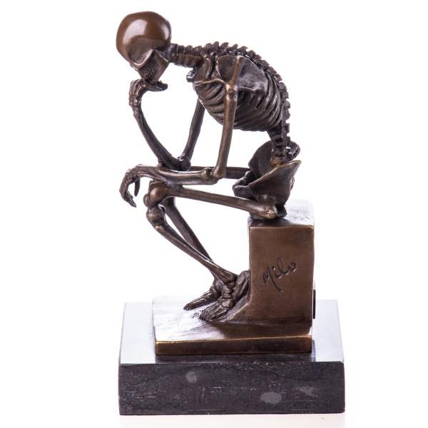 Bronzefigur Skelett Denker BT525