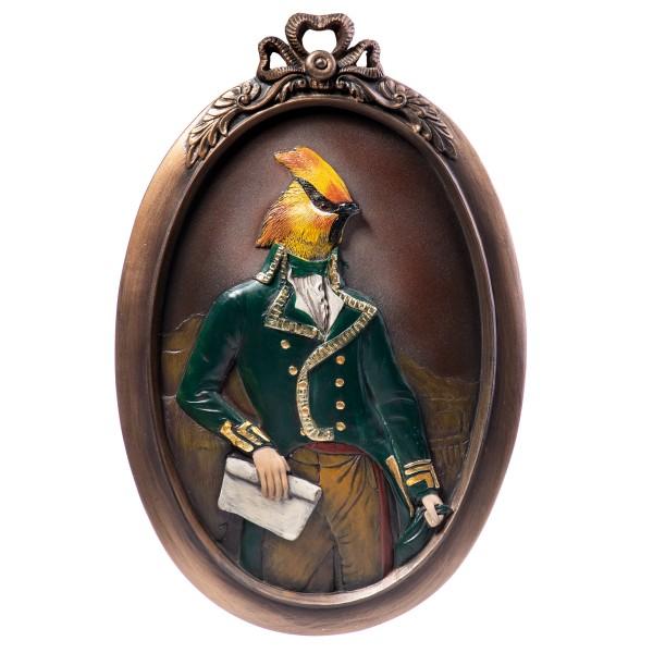 Wandrelief eines Vogels in Kostüm aus handbemaltem Polyresin QP113