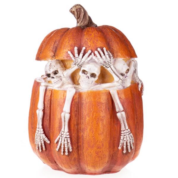 Halloween Polyresinfigur Skelette in Kürbis XS213