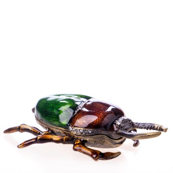 Pillendöschen aus emailliertem Hartzinn und Schmucksteinen in Form eines Käfers BX21995