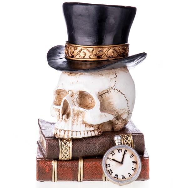 Gothic Polyresinfigur Totenkopf mit Zylinder auf Büchern XS209