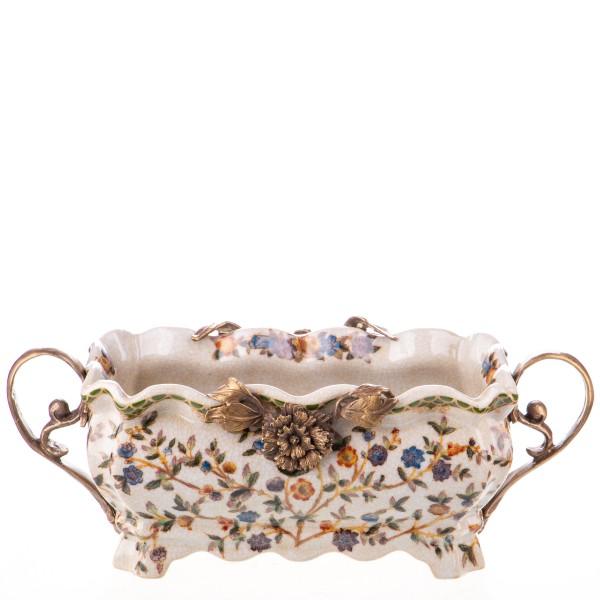 Porzellan mit Bronze Schale mit Rose HM6119