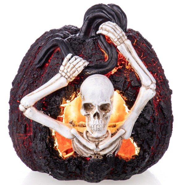 Halloween Polyresinfigur Skelett in Kürbis (3 AAA Batterinien nicht enthalten!) XS204