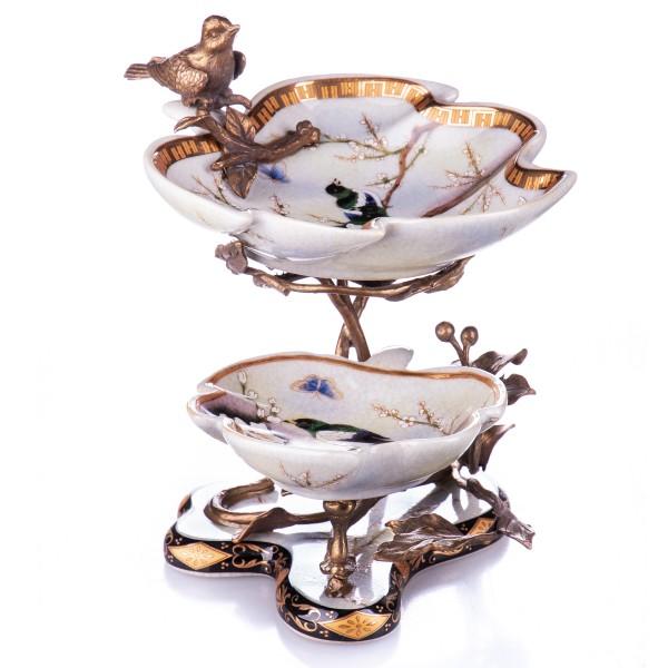Porzellan mit Bronze Etagere mit Vogel HM6059