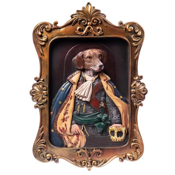 Wandrelief eines Hundes in Kostüm aus handbemaltem Polyresin QP128