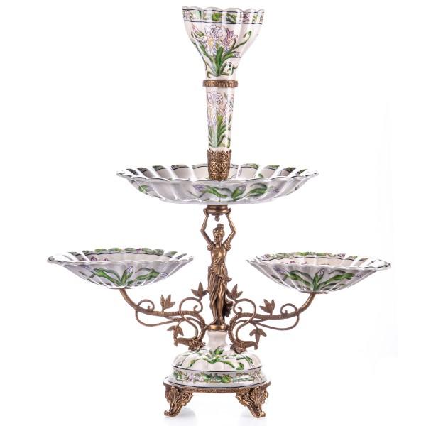 Porzellan mit Bronze Jugendstil Tafelaufsatz HM6101