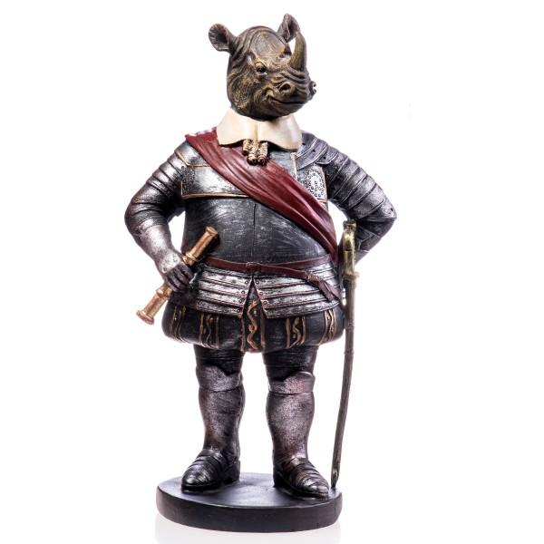 Nashorn in Kostüm handbemalte Polyresinfigur QP125