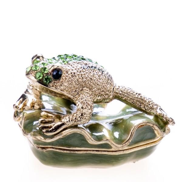 Pillendöschen aus emailliertem Hartzinn und Schmucksteinen mit Frosch BX21460A