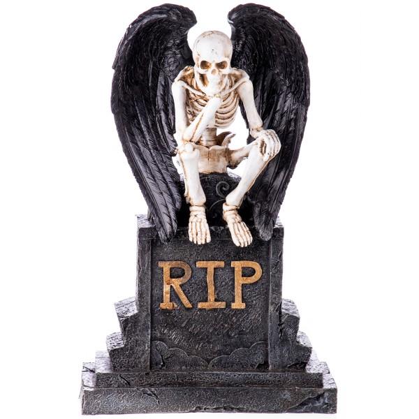 Gothic Polyresinfigur Skelett auf Grabstein XS215