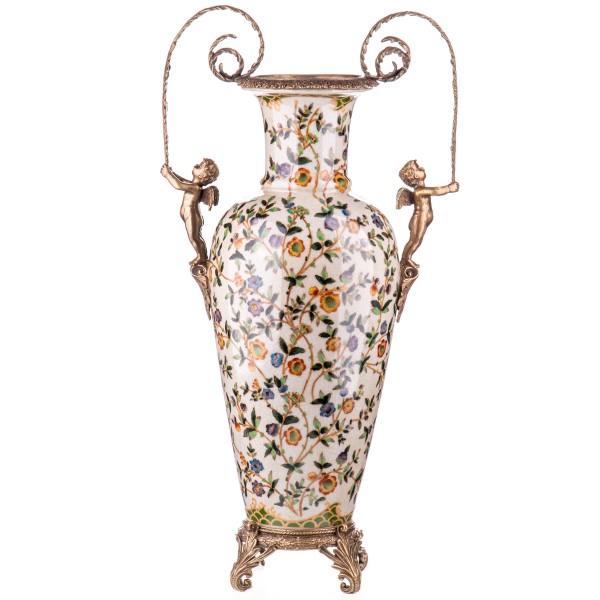 Porzellan mit Bronze Vase mit Engeln HM6122