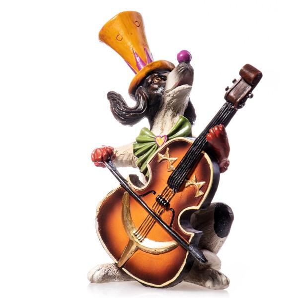 Hund in Clownskostüm mit Instrument handbemalte Polyresinfigur QP119