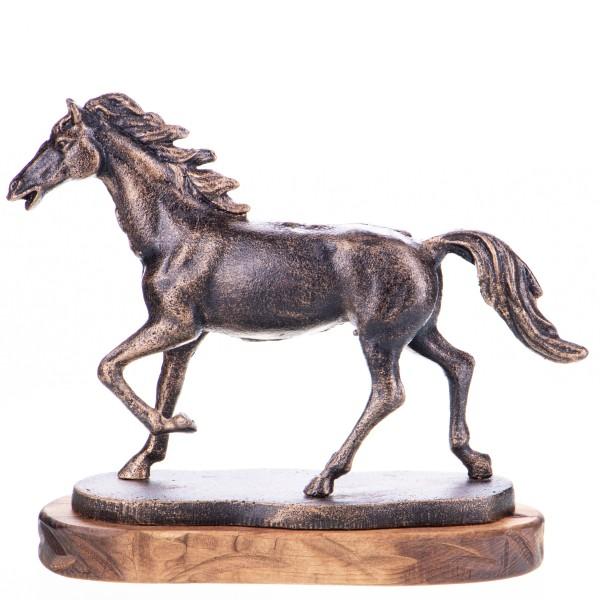 Gusseisen Pferd auf Holzsockel GU084