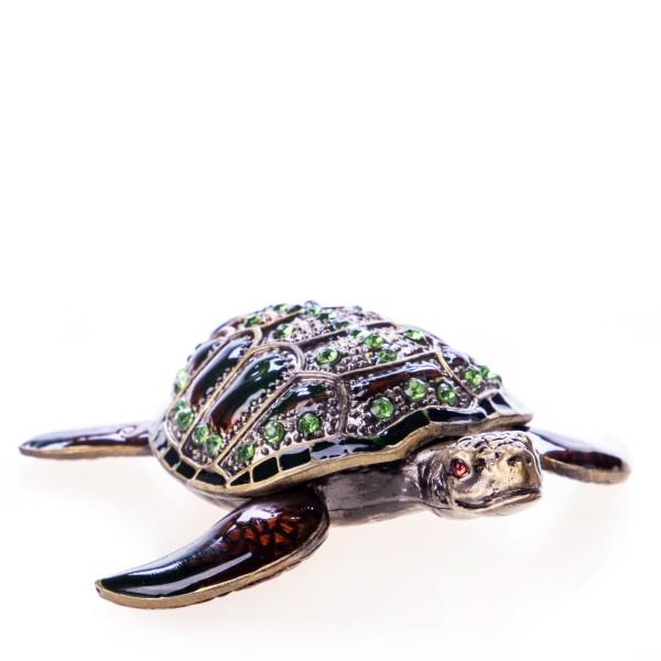 Pillendöschen aus emailliertem Hartzinn und Schmucksteinen in Form einer Schildkröte BX23207
