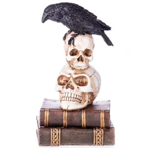 Gothic Polyresinfigur Raabe auf Totenköpfen und Büchern XS201