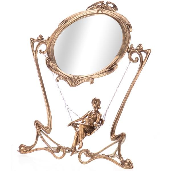 Jugendstil Bronze Spiegel Frau auf Schaukel HM5323