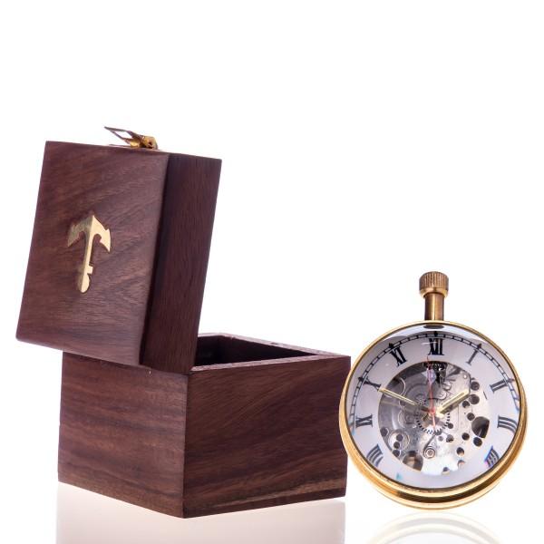 Messing Kugeluhr mit Mechanischem Uhrwerk in Holzbox R10-G