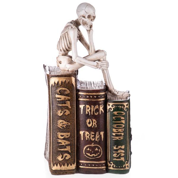 Gothic Polyresinfigur Skelett auf Büchern XS211